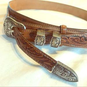 NEW Tony Lama Hand-Tooled Leather Belt 38-42 Tan